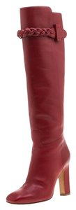 Valentino Leather Braided Detail Red Boots