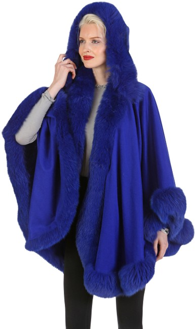 Item - Royal Blue Real Fox Fur Trim Cashmere with Detachable Hood Poncho/Cape Size OS (one size)