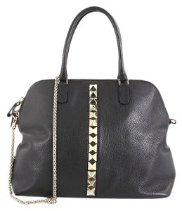 Valentino Bowling Leather Satchel in black