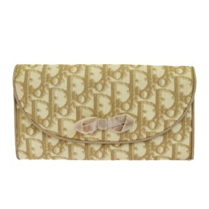 Dior Christian Dior Trotter Pattern Bifold Wallet Purse PVC Leather Beige