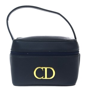 Dior Christian Dior Vanity Hand Bag Leather Navy Blue Made In Spain