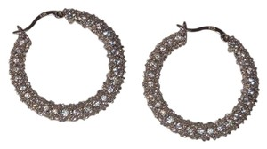 Charles Winston C.W. Collection Charles Winston Sterling Silver CZ Hoop Earrings B62