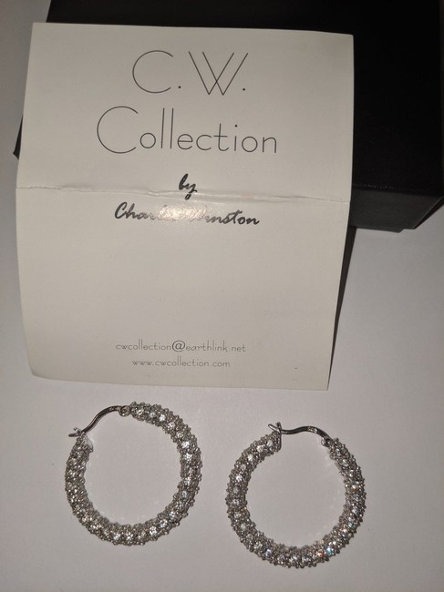 Charles Winston Silver W C.w. Collection Sterling Cz Hoop B62 Earrings Charles Winston Silver W C.w. Collection Sterling Cz Hoop B62 Earrings Image 3