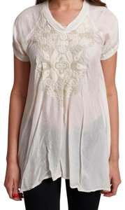 Johnny Was Tonal Embroidery Shimmer Embroidery High Low Hem Side Vents Embroidered Top Natural