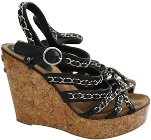 Chanel Cc Black & Silver Wedges