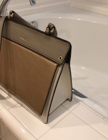 Furla off white, champagne and light gray Messenger Bag Image 1