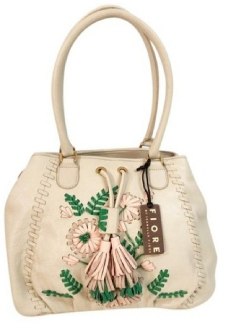 Item - Cream Green and Pink Lambskin Leather Shoulder Bag