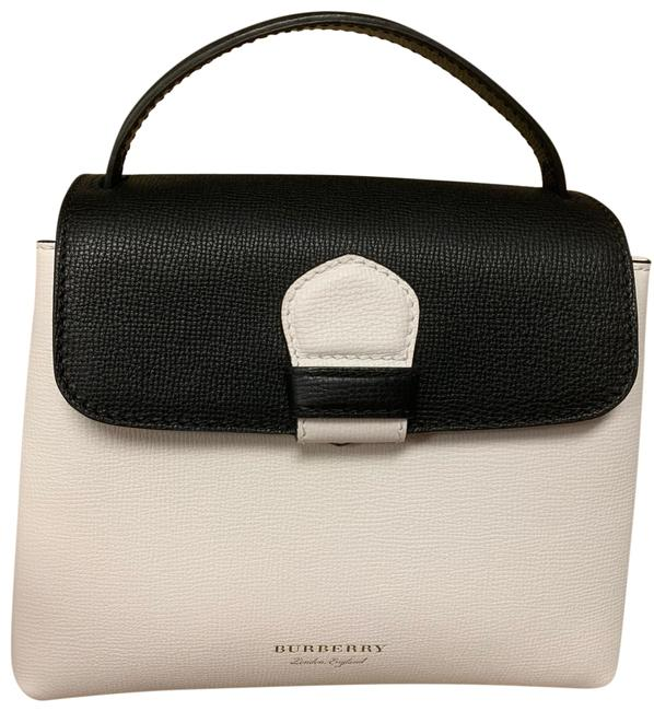 Burberry Small Tote with Gold Hardware . White and Black Leather Canvas Cross Body Bag Burberry Small Tote with Gold Hardware . White and Black Leather Canvas Cross Body Bag Image 1
