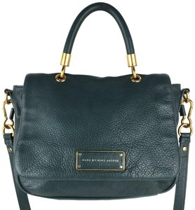 Marc by Marc Jacobs Leather Gold Hardware Crossbody Satchel in Emerald Green, Teal