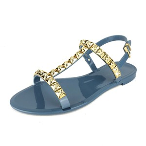 Stuart Weitzman Studded Gold Hardware Jelly Steel Blue Gray Sandals