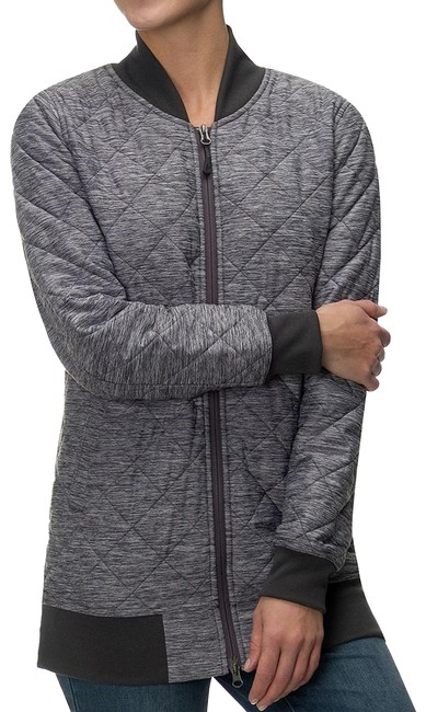 Item - Gray Heather Insulated Quilted Knit Long Mod Bomber Jacket Size 10 (M)