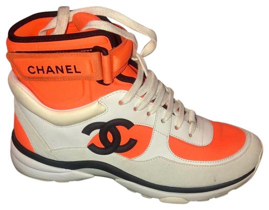 Preload https://img-static.tradesy.com/item/25965211/chanel-orange-white-and-black-cc-logo-high-top-sneakers-size-us-75-regular-m-b-0-1-540-540.jpg