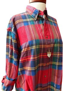 American Eagle Outfitters Button Down Shirt Red Blue Green