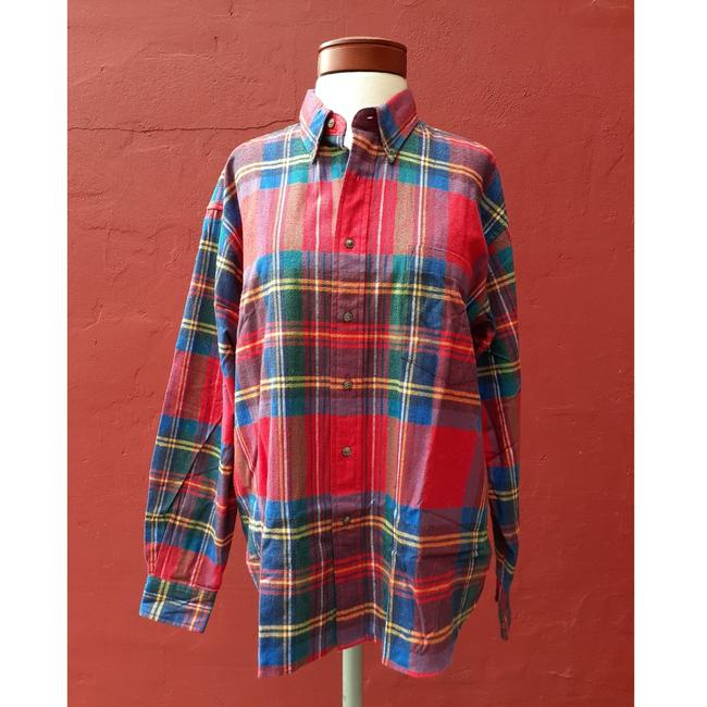 American Eagle Outfitters Button Down Shirt Red Blue Green Image 1