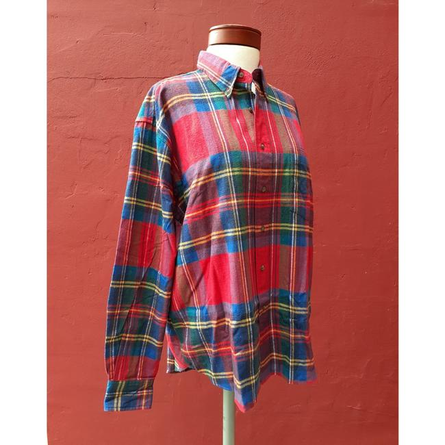 American Eagle Outfitters Button Down Shirt Red Blue Green Image 6