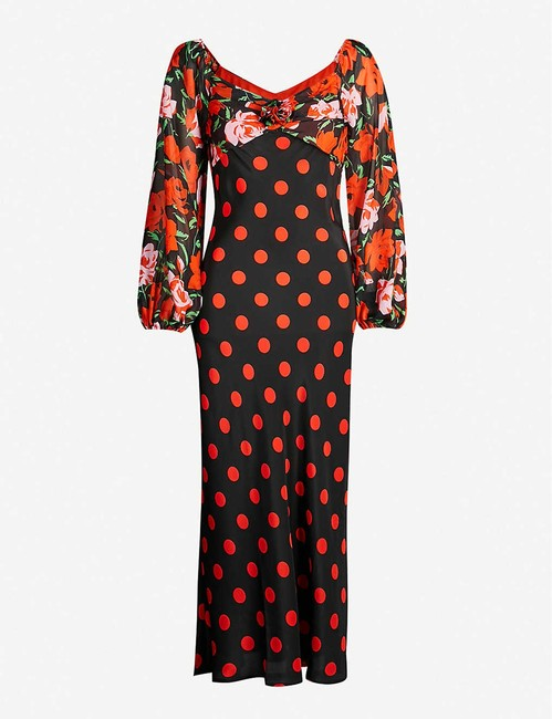 RIXO Silk Longsleeve Open Shoulder Floral Dress Image 1