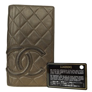 Chanel Authentic CHANEL CC Cambon Long Bifold Wallet Purse Leather Gold Franc