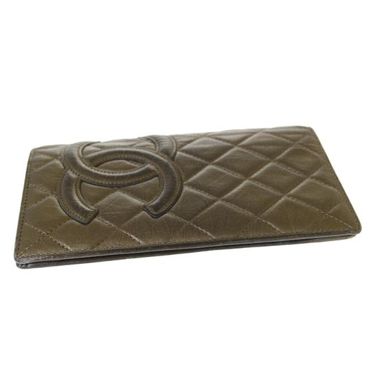 Chanel Authentic CHANEL CC Cambon Long Bifold Wallet Purse Leather Gold Franc Image 4