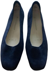 """Peter Kaiser Suede Square Round Toe 1"""" Rubber Sole Navy Blue Flats"""
