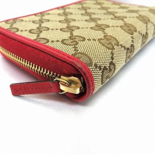 Gucci Gucci Womens Original GG Calf Canvas Red Leather Trim Wallet 420113 Image 2