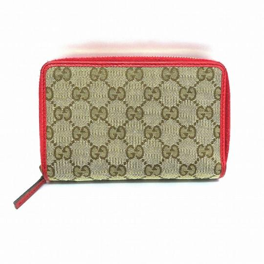 Gucci Gucci Womens Original GG Calf Canvas Red Leather Trim Wallet 420113 Image 3