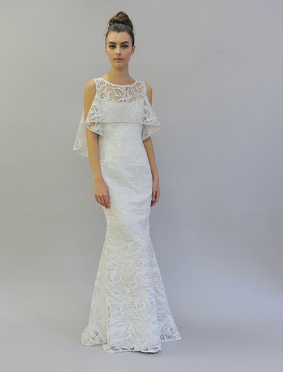 Austin Scarlett Silk White (Diamond White) Branch Lace Nadine E017 Formal Wedding Dress Size 4 (S) Image 0