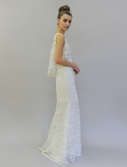 Austin Scarlett Silk White (Diamond White) Branch Lace Nadine E017 Formal Wedding Dress Size 4 (S) Image 1