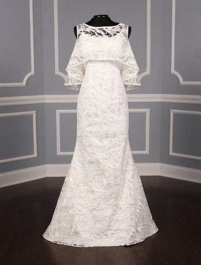 Austin Scarlett Silk White (Diamond White) Branch Lace Nadine E017 Formal Wedding Dress Size 4 (S) Image 3