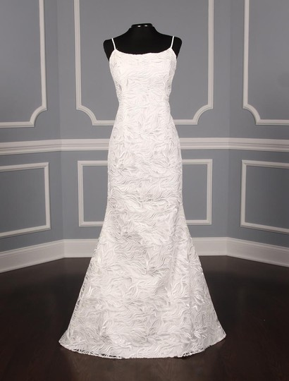Austin Scarlett Silk White (Diamond White) Branch Lace Nadine E017 Formal Wedding Dress Size 4 (S) Image 4