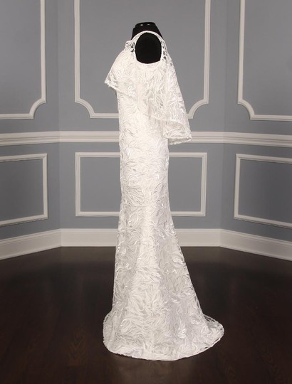 Austin Scarlett Silk White (Diamond White) Branch Lace Nadine E017 Formal Wedding Dress Size 4 (S) Image 5