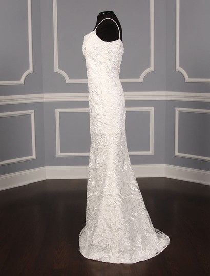 Austin Scarlett Silk White (Diamond White) Branch Lace Nadine E017 Formal Wedding Dress Size 4 (S) Image 6