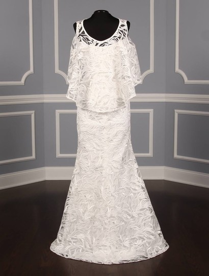 Austin Scarlett Silk White (Diamond White) Branch Lace Nadine E017 Formal Wedding Dress Size 4 (S) Image 7