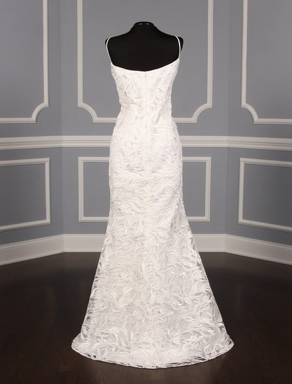 Austin Scarlett Silk White (Diamond White) Branch Lace Nadine E017 Formal Wedding Dress Size 4 (S) Image 8