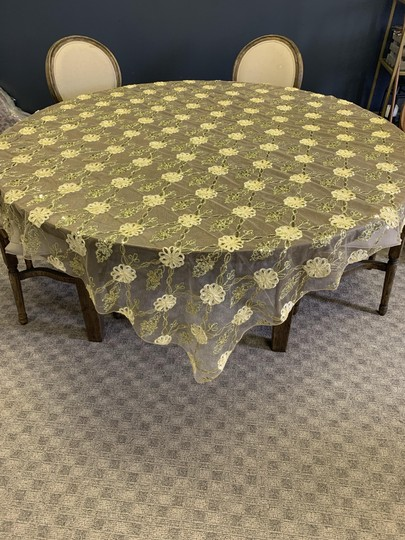 Preload https://item3.tradesy.com/images/gold-72-x-72-table-overlay-lace-netting-with-satin-floral-embellishments-tablecloth-25965407-0-0.jpg?width=440&height=440