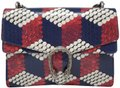 Gucci Python Multicolor Satchel in Red Blue White