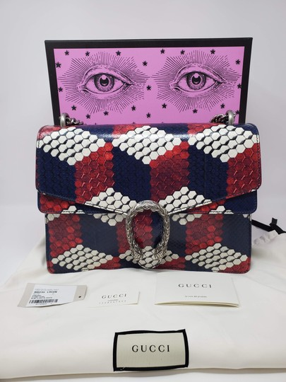 Gucci Python Multicolor Satchel in Red Blue White Image 1