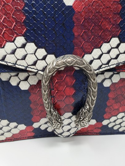 Gucci Python Multicolor Satchel in Red Blue White Image 11