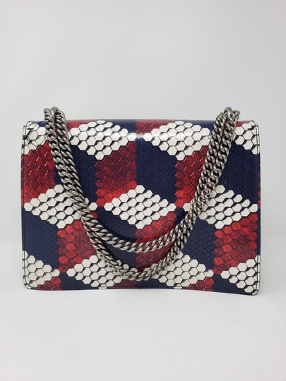 Gucci Python Multicolor Satchel in Red Blue White Image 5