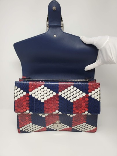 Gucci Python Multicolor Satchel in Red Blue White Image 6