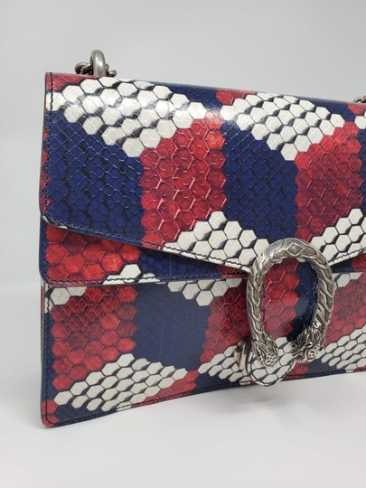 Gucci Python Multicolor Satchel in Red Blue White Image 7