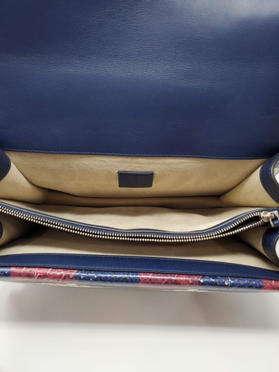 Gucci Python Multicolor Satchel in Red Blue White Image 8