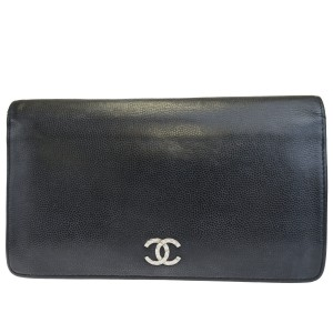 Chanel Authentic CHANEL CC Logo Long Bifold Wallet Purse Caviar Leather Black