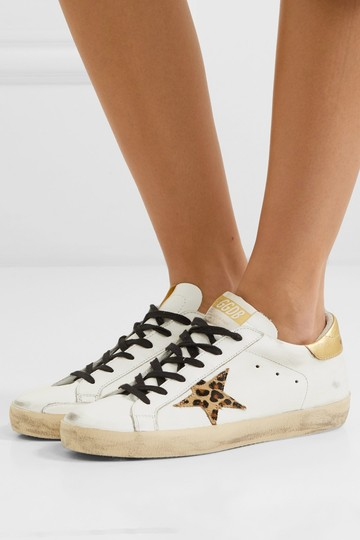 Golden Goose Deluxe Brand Ggdb Superstar Sneaker Leopard, Gold and White Athletic Image 3