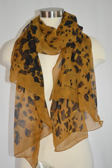 Burberry NEW ANIMAL-PRINT SILK GEORGETTE XL Amber Yellow SCARF WRAP Italy Image 1
