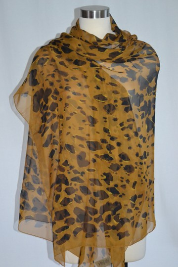 Burberry NEW ANIMAL-PRINT SILK GEORGETTE XL Amber Yellow SCARF WRAP Italy Image 2