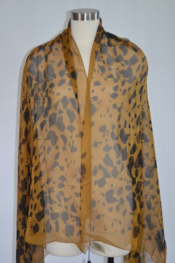 Burberry NEW ANIMAL-PRINT SILK GEORGETTE XL Amber Yellow SCARF WRAP Italy Image 3