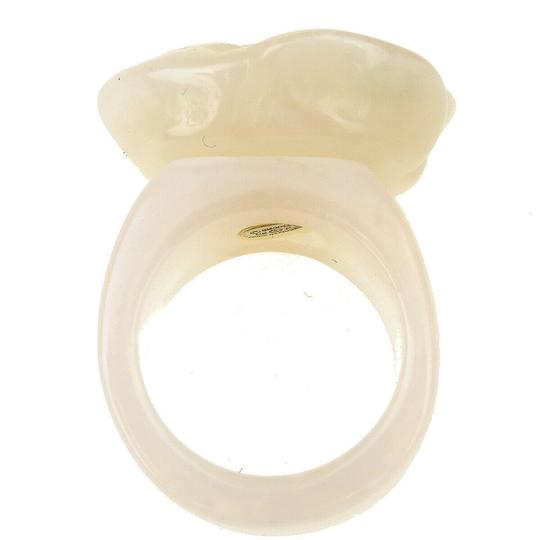 Chanel Authentic CHANEL CC Logo Camellia Ring Plastic Ivory Accessory Image 3