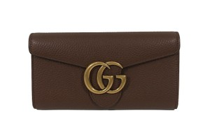 Gucci NEW GUCCI 400586 GG Marmont Leather Wallet, Brown
