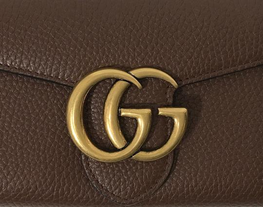 Gucci NEW GUCCI 400586 GG Marmont Leather Wallet, Brown Image 1