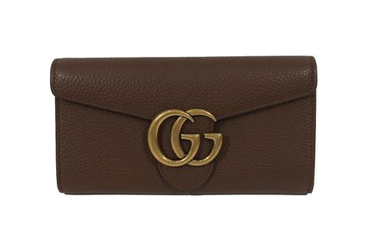 Gucci NEW GUCCI 400586 GG Marmont Leather Wallet, Brown Image 9